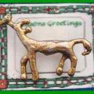 Christmas PIN #0351 Unique Reindeer Goldtone Pin OOAK (Looks handmade) OOAK