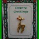 Christmas PIN #0350 Rudolph Red Nose Reindeer Goldtone Tac Pin