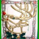 Christmas PIN #0347 Buck Deer Goldtone with Green Holly & Red Nose ~looking left