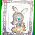 Christmas PIN #0345 Gerrys Deer & Gold Holly-Silvertone and Green Rhinestone Eye