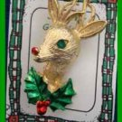 Christmas PIN #0344 Gerrys Buck Deer Goldtone w/Green Eye~Enamel Green/Red Holly