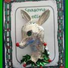 Christmas PIN #0343 Gerrys Deer & Holly Silvertone with Enamel Green & Red