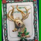 Christmas PIN #0342 Buck Deer & Holly Goldtone w/Enamel Green & Red