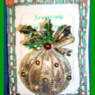 Christmas PIN #0336 Signed Gerrys VTG Christmas Ball Ornament Red-Green Goldtone