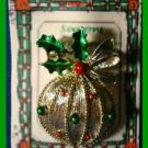 Christmas PIN #0334a Signed Gerrys VTG Christmas Ball Ornment Red-Green Goldtone