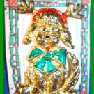 Christmas PIN #0333 VTG AJC Reindeer Dog w/Antlers & Green Bow Goldtone  Brooch