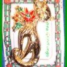 Christmas PIN #0329 Cat/Kitty Goldtone & Enamel w/Holly & Poinsettia VTG Brooch