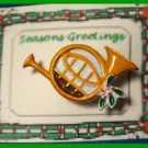Christmas PIN #0324 Horn Enamel Tan with Holly & Berries