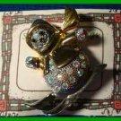Christmas PIN #0323 MRS Snowman Skiing Goldtone Silvertone wRainbow Rhinestones