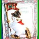 Christmas PIN #0321 Snowman Skating Goldtone wRed Scarf-Black Hat wHolly-Hi Flag