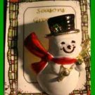 Christmas PIN #0319 Snowman Goldtone w/Red Scarf & Black Hat w/Holly, Broom VGC