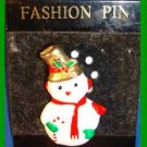Christmas PIN #0318 Snowman White & Goldtone Red Scarf-Goldtone Hat-Green Mitten