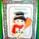 Christmas PIN #0317 Snowman Plastic, Red Scarf & Black Hat, Orange Broom VGC