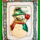 Christmas PIN #0314 Enamel Snowman Goldtone, Red Scarf Green Hat, Red Broom VTG