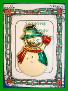 Christmas PIN #0314 Enamel Snowman Goldtone, Red Scarf Green Hat, Red Broom VTG