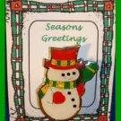 Christmas PIN #0312 Enamel Snowman Goldtone, Green & Yellow Scarf & Red Hat VGC