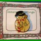 Christmas PIN #0311 Enamel Snowman Goldtone, Red & White Scarf & Black Hat VGC
