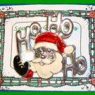 Christmas PIN #0299 SR VTG Santa HO HO HO Silvertone/Enamel HOLIDAY Brooch