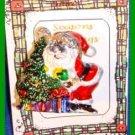 Christmas PIN #0298 Santa Silvertone & Enamel Plastic Tac Pin HOLIDAY Brooch