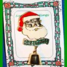 Christmas PIN #0295 Santa Head Goldtone w/GREETINGS & Bell w/Clapper Brooch