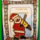Christmas PIN #0291 Signed BJ Santa & Fiddle Goldtone & Enamel HOLIDAY Brooch