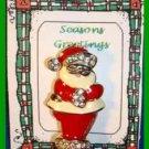 Christmas PIN #0290 Santa Goldtone, Rhinestones & Enamel HOLIDAY Brooch
