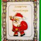 Christmas PIN #0287 Santa and Sack Goldtone & Enamel HOLIDAY Brooch