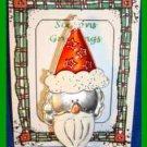 Christmas PIN #0278 VTG Santa Silvertone w/Enamel Red Hat & White Beard HOLIDAY