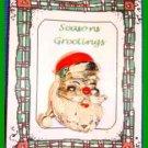 Christmas PIN #0275 VTG Santa Goldtone w/Red Hat & Green Holly Enamel HOLIDAY