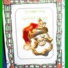 Christmas PIN #0274 Vtg SANTA's HEAD Enamel & Goldtone HOLIDAY Brooch