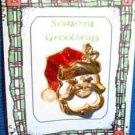 Christmas PIN #0273 VTG Santa Claus Head Enamel & Goldtone HOLIDAY Tac Brooch
