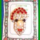 Christmas PIN #0271 Santa Claus Head/Face Rhinestone/Crystals Pearl Nose HOLIDAY