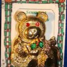 Christmas PIN #0266 VTG Gerrys Bear Goldtone w/Red Crystal/Rhinestone Eyes VGC