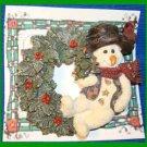 Christmas PIN #0263 Boyds Bear & Friends Snowman Willie wEvergreen Wreath Brooch