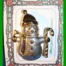 Christmas PIN #0260 Snowman Silvertone & Goldtone w/Candy Cane HOLIDAY