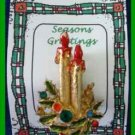 Christmas PIN #0253 Double Candle & Green Holly w/Rhinestones Goldtone HOLIDAY