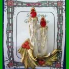 Christmas PIN #0251 Double Candle & Holly w/Red Berries Goldtone HOLIDAY Brooch