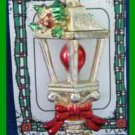 Christmas PIN #0244 Vintage Lantern Candle with Holly & Red Bow Goldtone HOLIDAY
