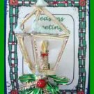 Christmas PIN #0243 Gerrys Vintage Lantern Candle & Holly wSNOW on Lite Goldtone