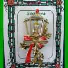 Christmas PIN #0242 Vintage Lantern Candle & Holly w/ Red Bow Goldtone - HOLIDAY