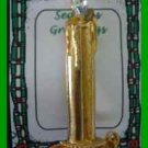 Christmas PIN #0233 Candle Goldtone & Cystal Flame Brooch HOLIDAY