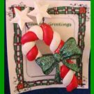 Christmas PIN #0221 Candy Cane Red & White with Green Bow & White Stars