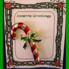 Christmas PIN #0220 Gerrys Vtg Candy Cane Red Enamel & Goldtone with Green Bow