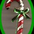 Christmas PIN #0219b Gerrys Vintage Candy Cane Goldtone/Red w/Green Bow GERRY