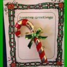 Christmas PIN #0219 Gerrys Vintage Candy Cane Red Enamel & Goldtone w/Green Bow
