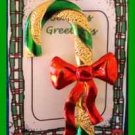 Christmas PIN #0217 VTG Candy Cane Green Enamel & Goldtone w/RED Ribbon HOLIDAY