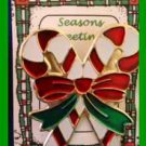 Christmas PIN #0216 Double Candy Cane Red, White & Green Enamel & Goldtone