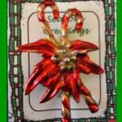 Christmas PIN #0214 Vintage Double Candy Cane & Poinsettia Red Enamel & Goldtone