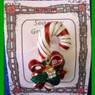 Christmas PIN #0210 Vintage Candy Cane Red, Green & White Enamal-Goldtone Brooch