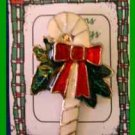 Christmas PIN #0208 Candy Cane Red, White, Green Enamal Goldtone HOLIDAY Brooch